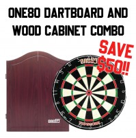 *One80 Topscore Dartboard and Wood Cabinet Combo - Rosewood